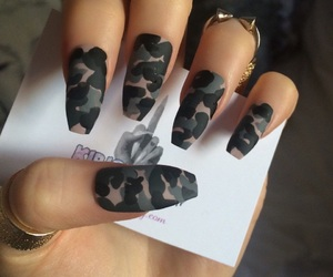 nails, green, and camouflage image