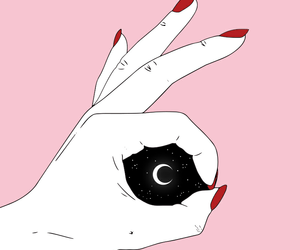 pink, moon, and hands image