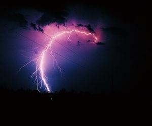 lightning, sky, and purple image