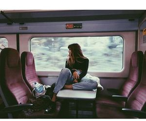 train and girl image
