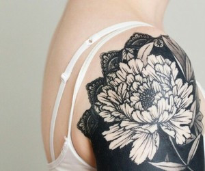 art, black, and flower image