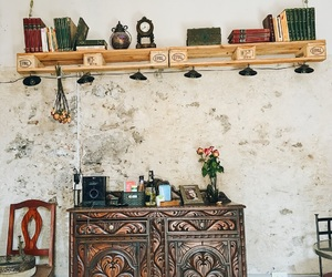 antique, bookshelf, and cafe image