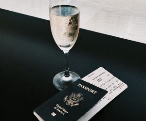 champagne, passport, and travel image