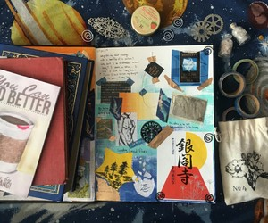 art, notebooks, and books image