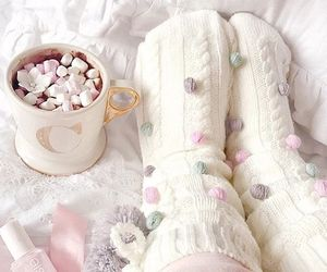 pink, socks, and winter image