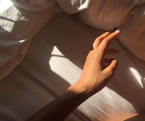 art, bed, and hand image