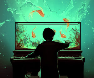 fish, piano, and art image