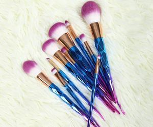 Brushes, makeup, and unicorn image