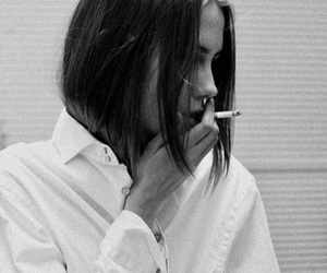 cigarette, girl, and black and white image