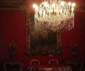 chandelier, palace, and red image