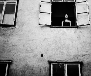 black and white, window, and woman image