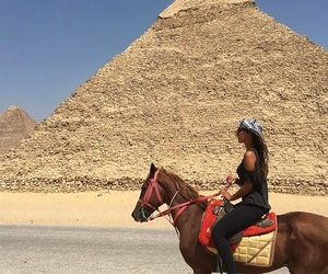 horse, egypt, and pyramide image