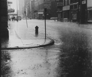 rain, black and white, and city image