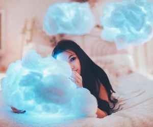girl, blue, and clouds image