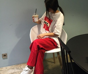 fashion, korean, and red image
