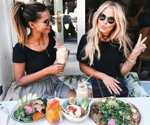 girl, friends, and food image