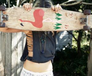 girl, skateboard, and longboard image
