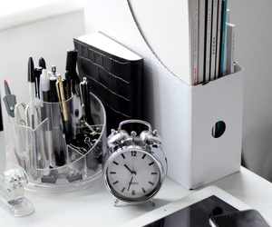 desk, white, and decor image