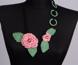 etsy, flower necklace, and crochet earrings image