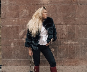 blonde, fur, and shirt image