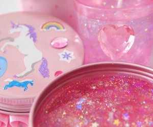 pink, glitter, and unicorn image