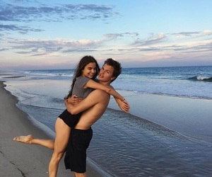 love, couple, and beach image