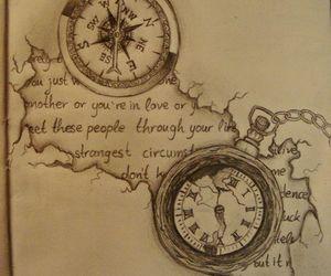 art, clock, and drawing image