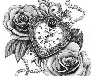 drawing, clock, and flowers image