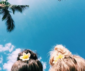 summer, flowers, and hair image