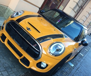 cars, mini cooper, and yellow image