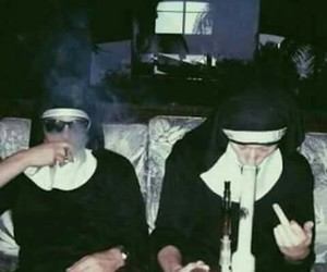 smoke, nun, and grunge image