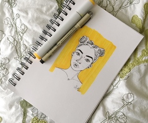 yellow, aesthetic, and drawing image