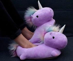 unicorn, slippers, and purple image