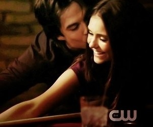 the vampire diaries, damon salvatore, and elena gilbert image