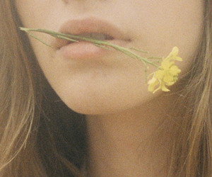 girl, flowers, and mouth image