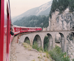 train, red, and mountains image