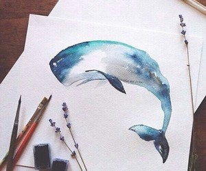 whale, blue, and art image