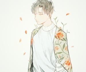 anime boy, art, and flowers image