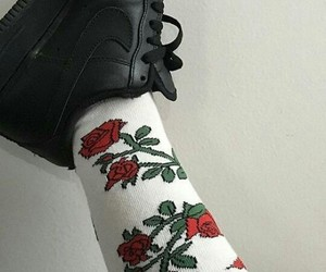 rose, socks, and black image