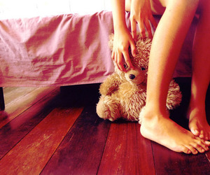 feet, teddy bear, and girl image