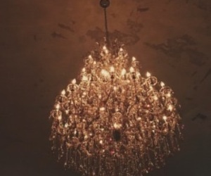 light, chandelier, and gold image