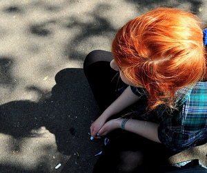 redhead, blue, and girl image