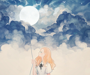 art, anime, and moon image