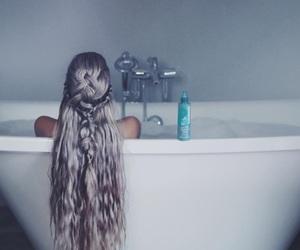 fashion, girl, and bathroom image