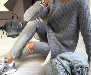 outfit, grey, and jeans image