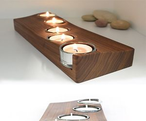 candle, wood, and candle holder image