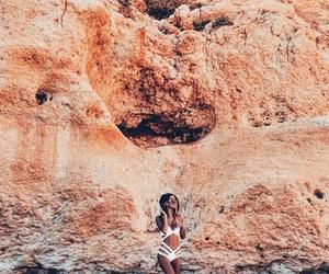beach, beautiful places, and bikini image