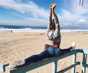 beach, fitness, and sea image