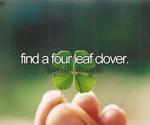 four leaf clover and bucket list image