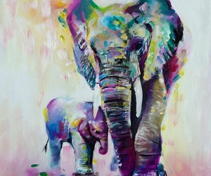 art, elephant, and water colour image
